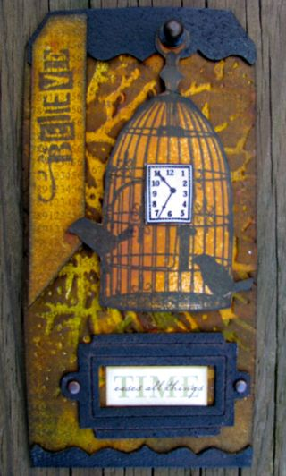 Time tag with rustic effects