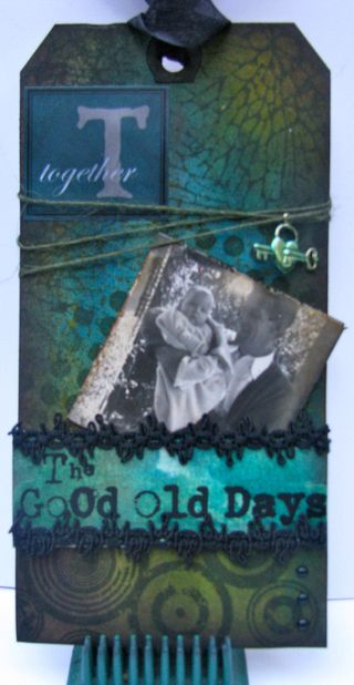 Good Old Days tag art - tuck a photo in your tag for a small keepsake - Marjie Kemper