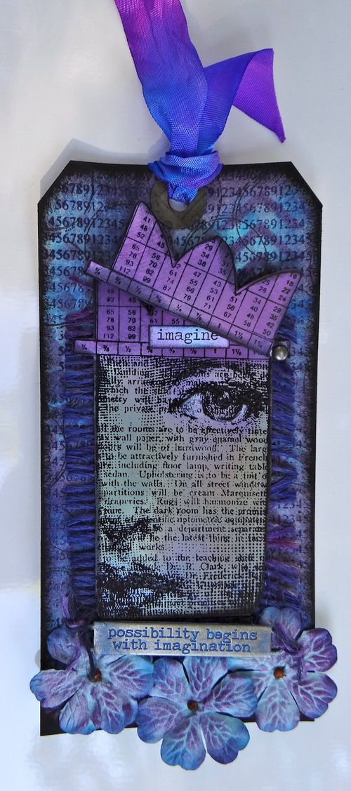 Crowned Tag with Distress Inks - crown open - Marjie Kemper