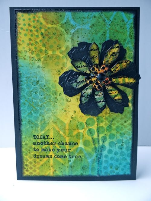 Greeting card with Tim Holtz Tattered Florals Sizzix die (Marjie Kemper)